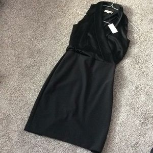 NWT Banana Republic silk drape front black dress.